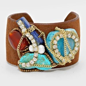 Tangled Crystal & Raw Rock Stone Hard Suede Cuff